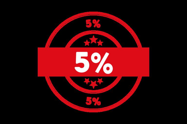 Round 5 percent stamp PSD