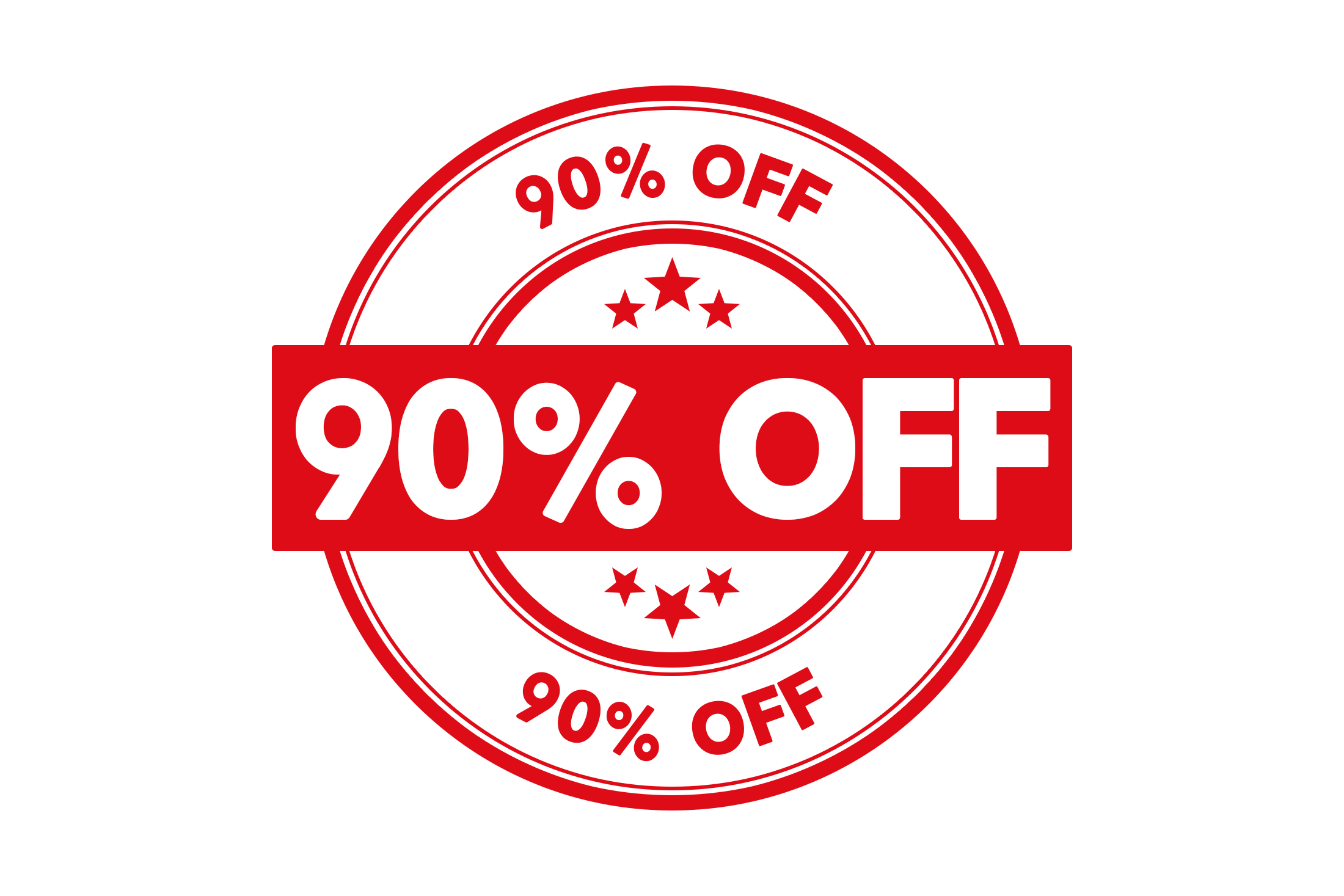 Round 90 percent off stamp PSD