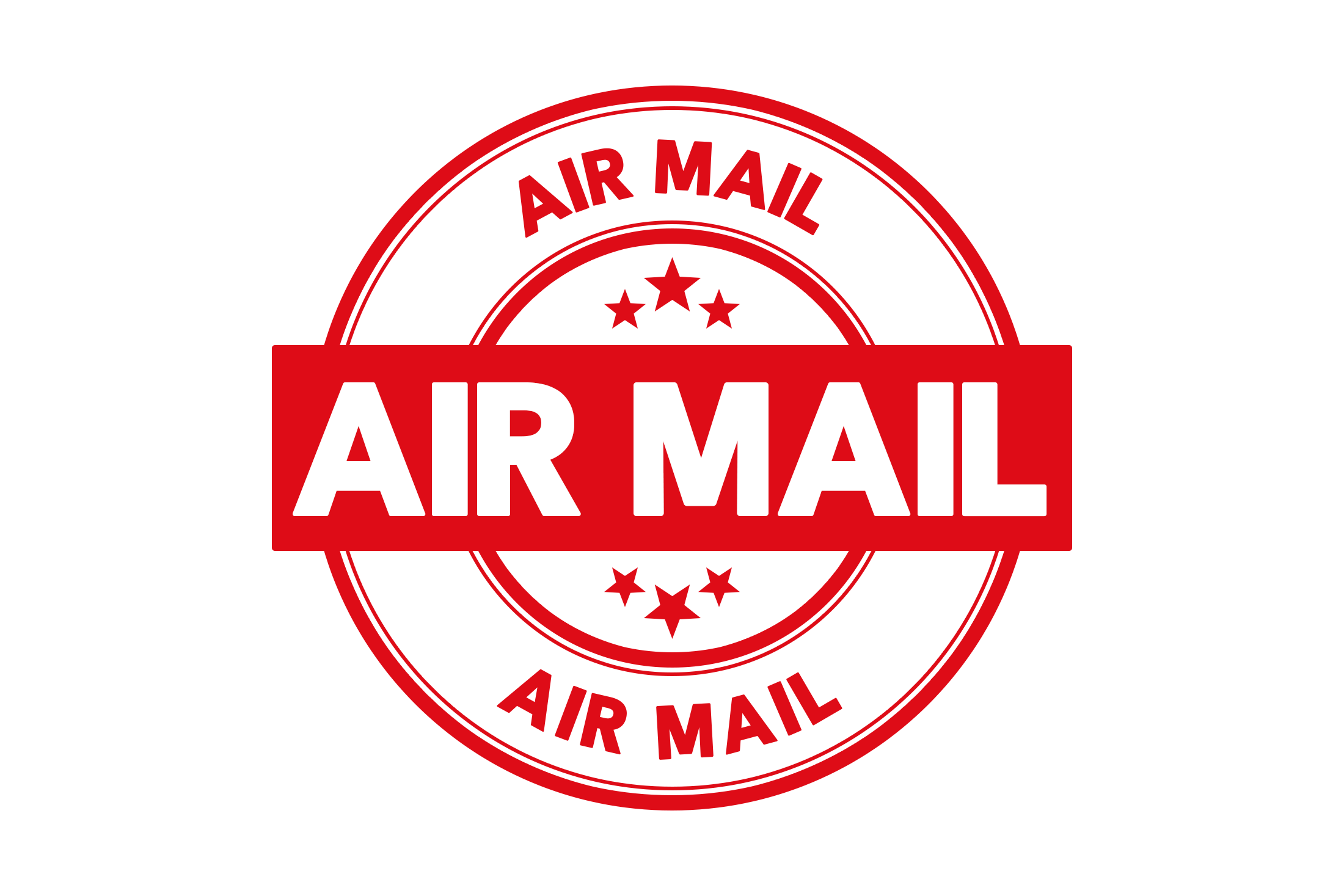 Round air mail stamp PSD