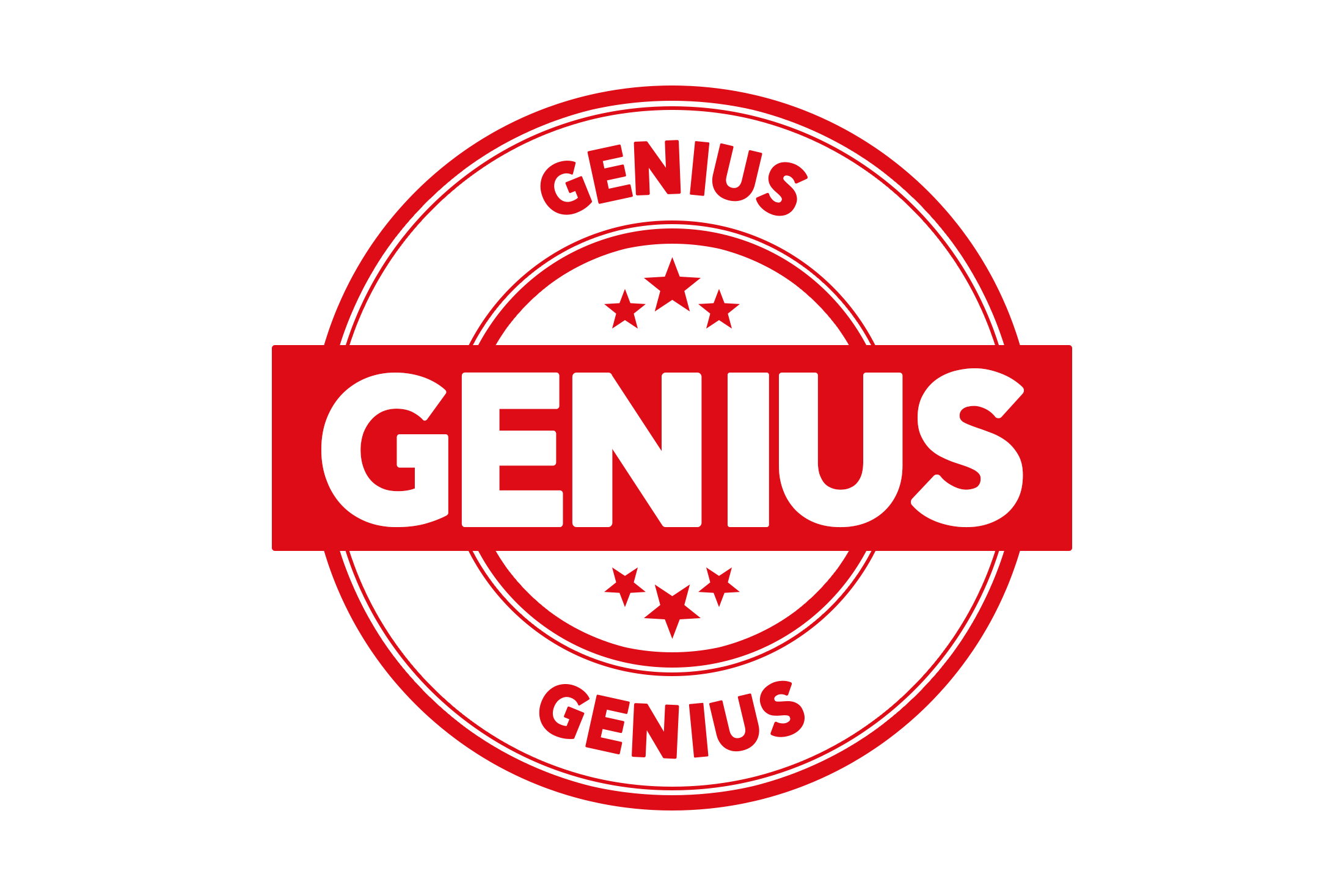 Round genius stamp PSD