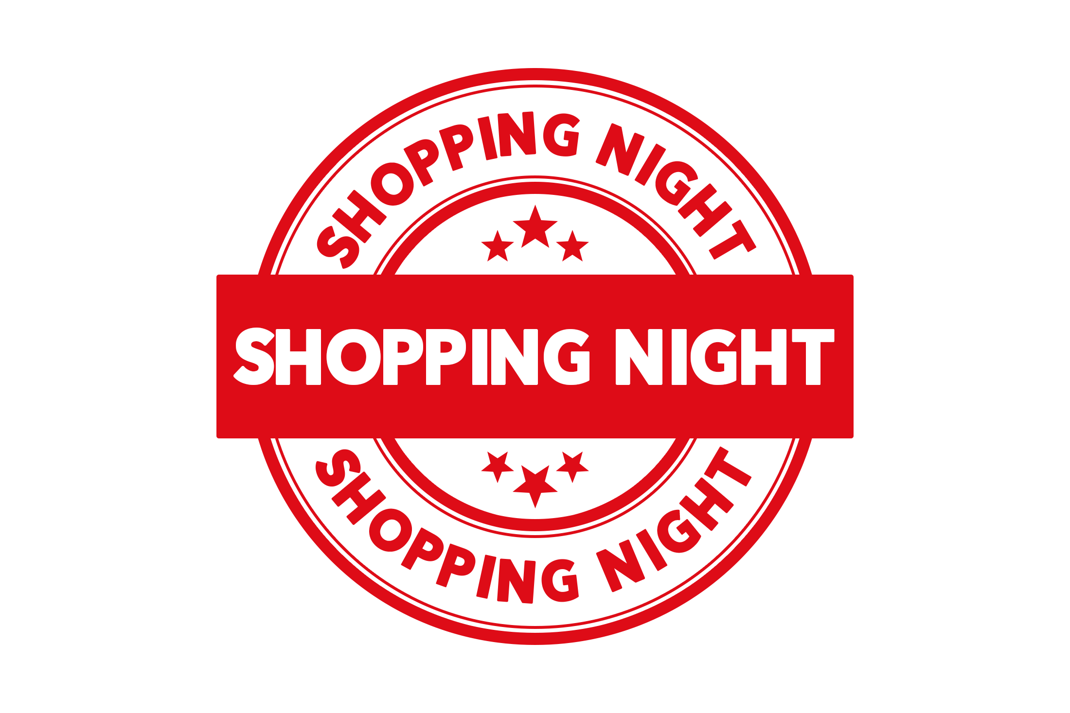 Round shopping night stamp PSD