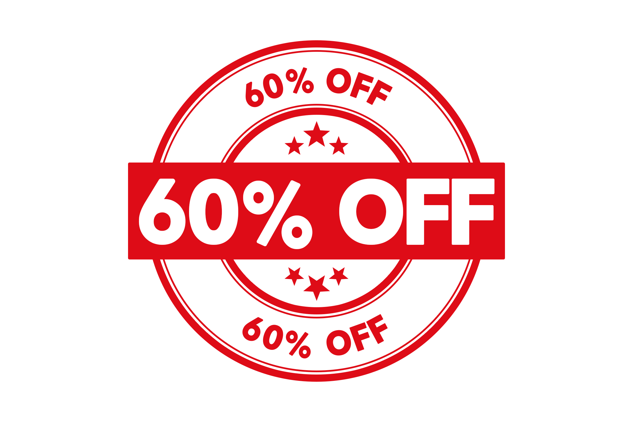 Round 60 percent off stamp PSD