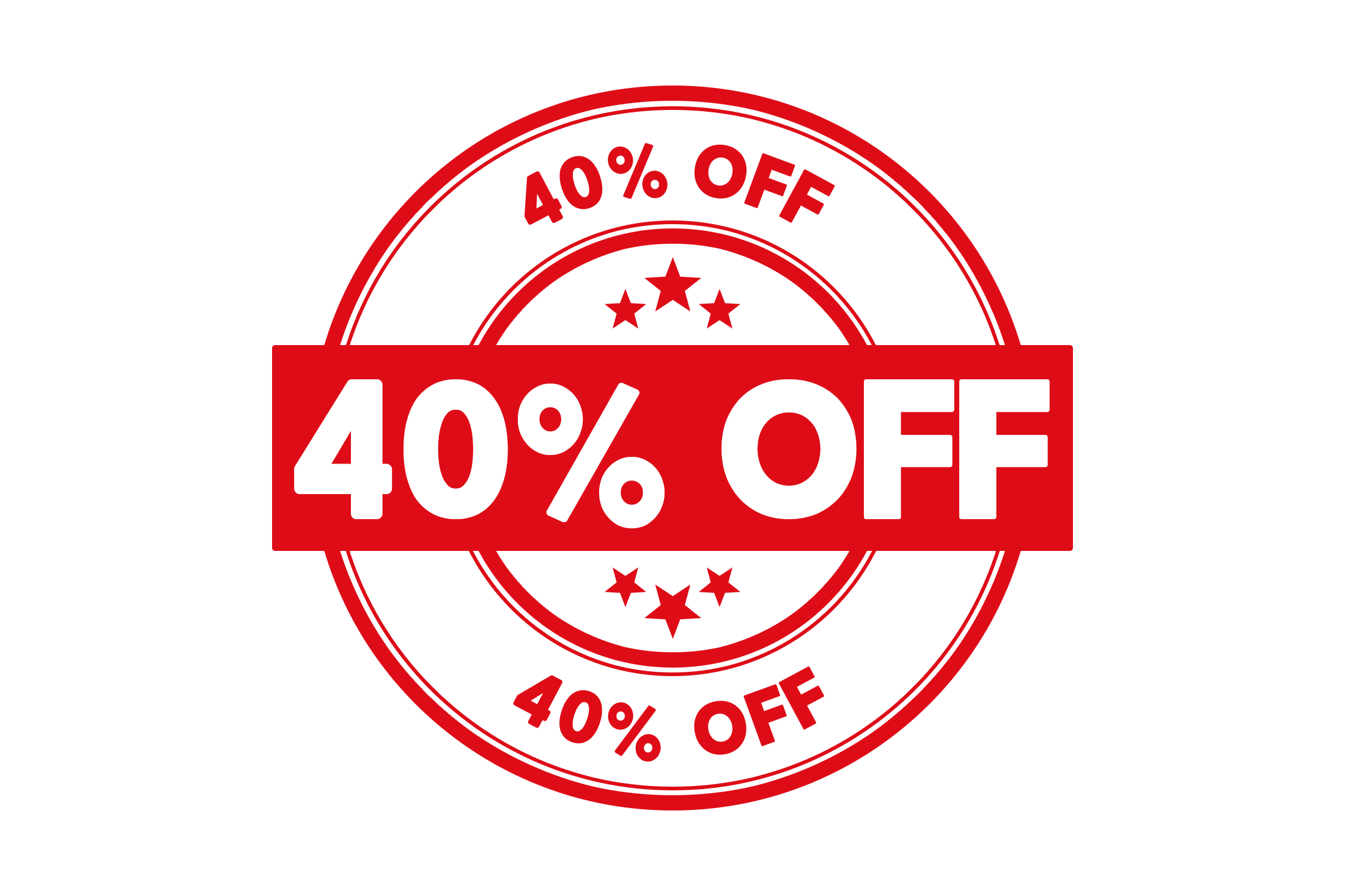 Round 40 percent off stamp PSD