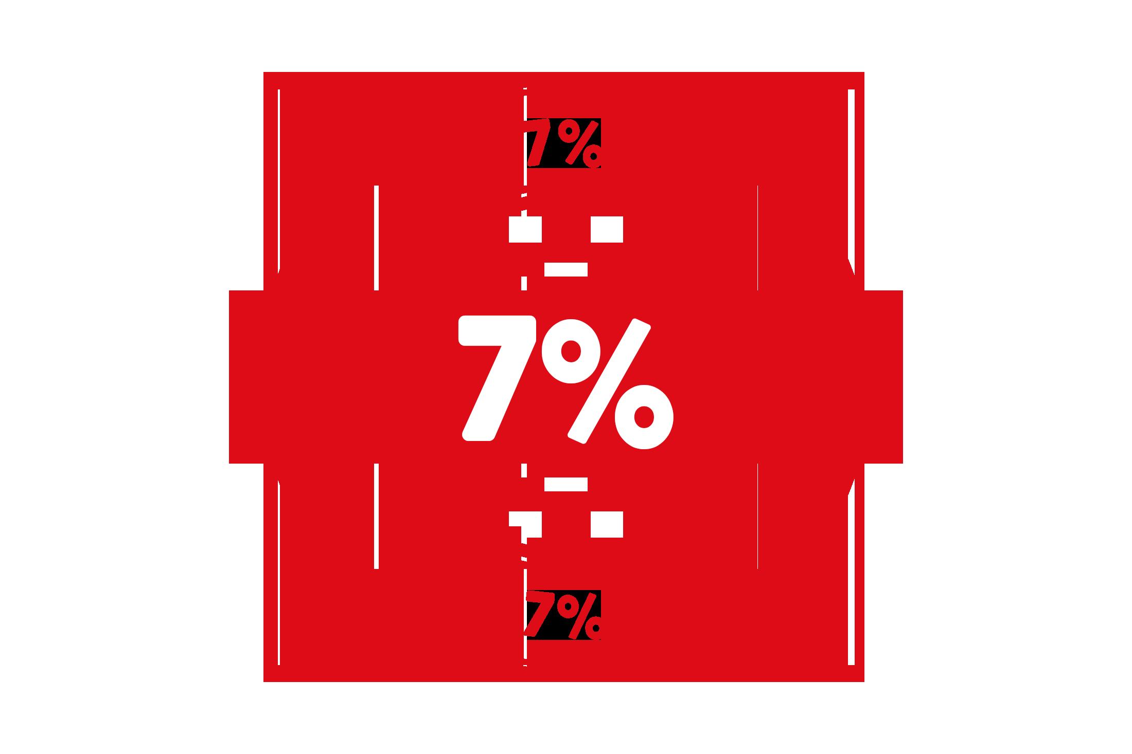 Round 7 percent stamp PSD