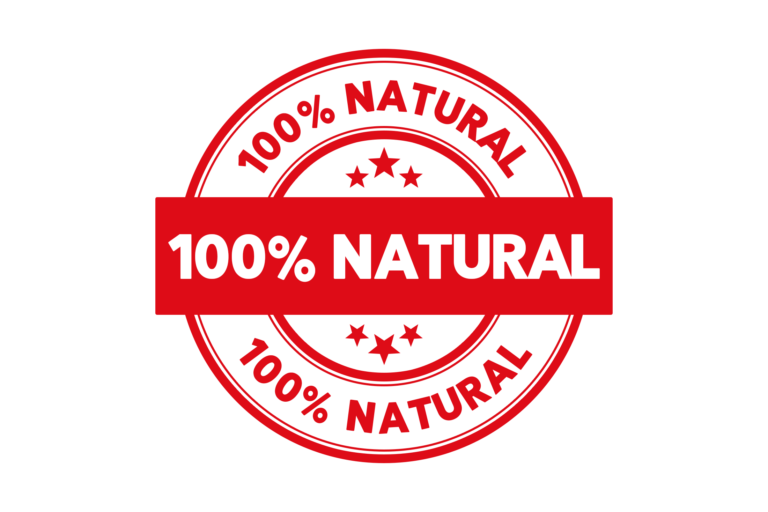 Round 100 percent natural stamp PSD