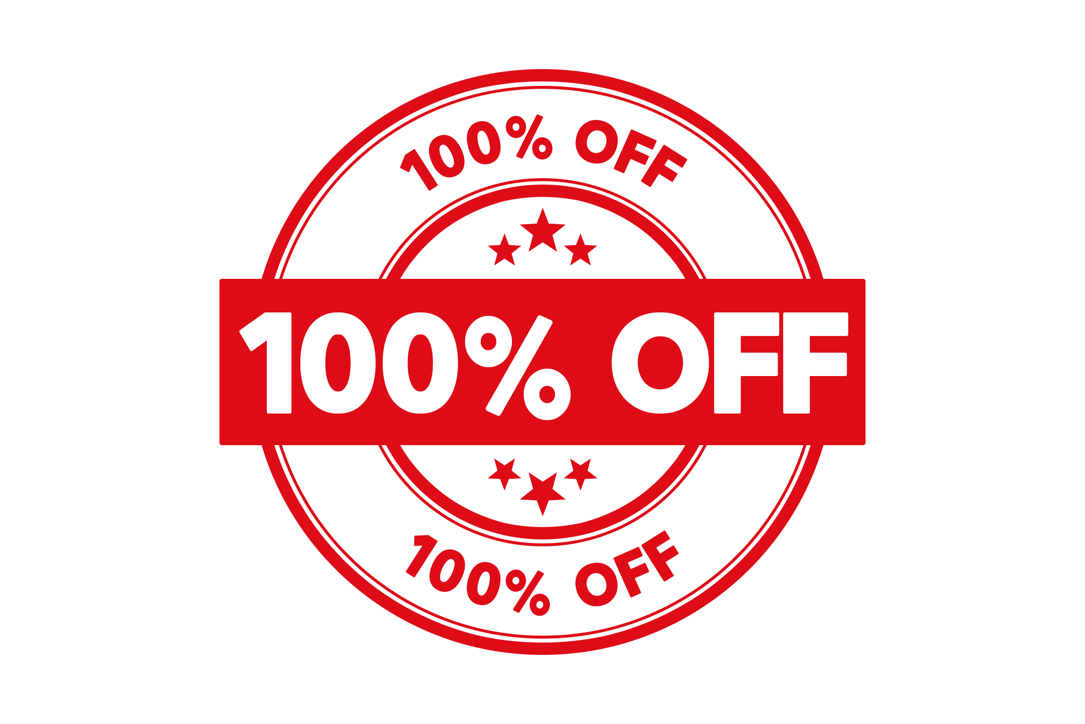 Round 100 percent off stamp PSD